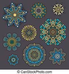 blommig, ornamental, set formge, elementara