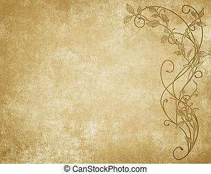 blommig, papper, eller, pergament