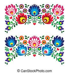 blommig, polska, folk, mönster