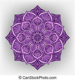 blommig, prydnad, runda, violett