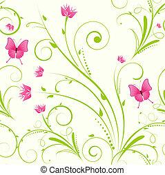 blommig, prydnad, seamless