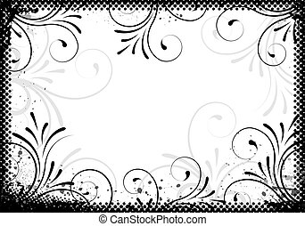 blommig, ram, design, bakgrund