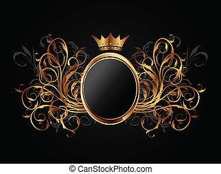 blommig, ram, med, heraldisk, krona