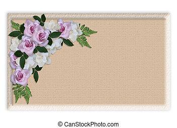 blommig, ro, bröllop, gräns, inbjudan