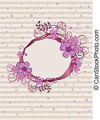 blommig, rosa, ram, design, oval