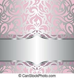 blommig, rosa, tapet, silver, &