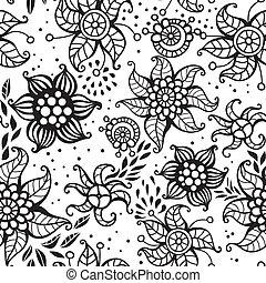 blommig, söt, seamless, mönster