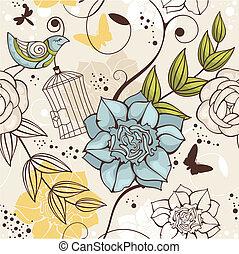 blommig, seamless, bakgrund