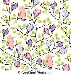 blommig, seamless, hand, oavgjord, mönster, med, fåglar, och, blomningen, vita, bakgrund