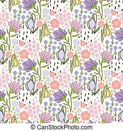 blommig, seamless, hand, oavgjord, mönster, med, liten, blomningen, vita, bakgrund