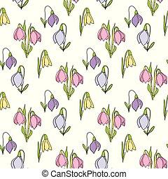 blommig, seamless, hand, oavgjord, mönster, med, snödroppar, vita, bakgrund