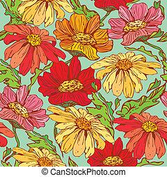blommig, seamless, mönster, med, hand, oavgjord, blomningen, -, camomile, på, blå, bakgrund.