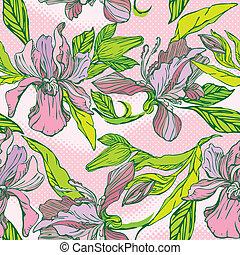 blommig, seamless, mönster, med, hand, oavgjord, blomningen, -, orkidéer, på, rosa, bakgrund.