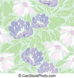 blommig, seamless, mönster, med, hand, oavgjord, blomningen, på, ljusblå, ba