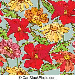 blommig, seamless, mönster, med, hand, oavgjord, blomningen, -, vallmo, blomningen, och, camomile, på, blå, bakgrund.