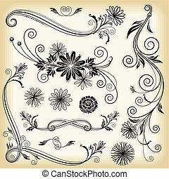 blommig, smyckad grundämnen