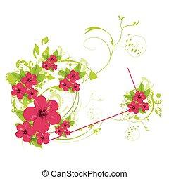 blommig, sommar, bakgrund