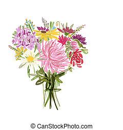 blommig, sommar, bukett, för, din, design