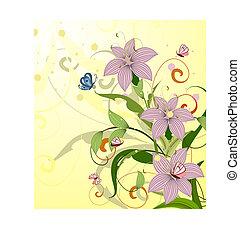 blommig, sommar, design