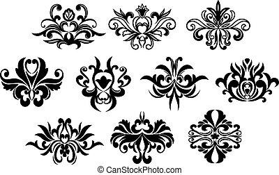 blommig, svart, elementara, design, lockig