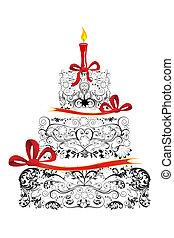 blommig, tårta, födelsedag