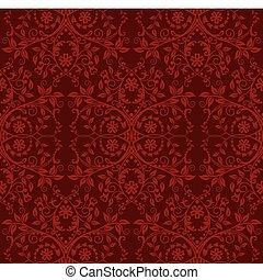 blommig, tapet, seamless, röd