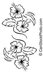 blommig, tatuera, blomma