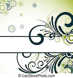 blommig, text, ram, design