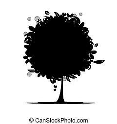 blommig, träd, silhuett, svart