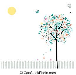 blommig, träd, vacker, för, din, design, fåglar, på, staket