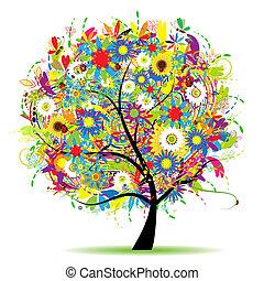 blommig, träd, vacker, sommar