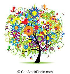 blommig, träd, vacker