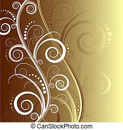 blommig, vacker, abstrakt, bakgrund, (vector)