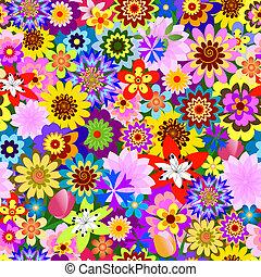 blommig, (vector), mönster, abstrakt, seamless