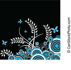 blommig, vektor, bakgrund