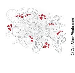 blommig, vektor, design, bakgrund