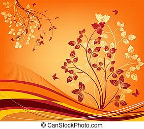 blommig, vektor, design