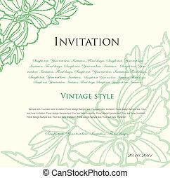 blommig, vektor, grön fond, design.