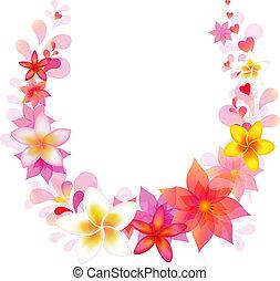 blommig, vektor, krans