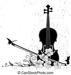 blommig, vektor, musikalisk komponering