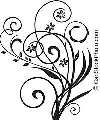 blommig, vektor, swirly, design