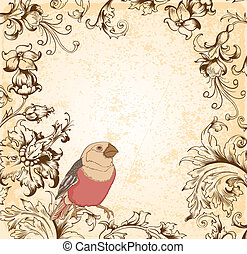 blommig, viktorian, fågel, bakgrund