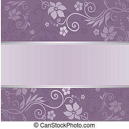 blommig, violett, inbjudan