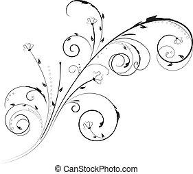 blommig, virvla runt, prydnad