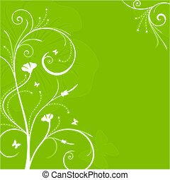 blommig, virvlar, grön fond