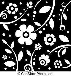blommig, vit, svart fond