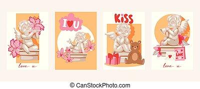 blomningen, engelskt, illustration., skulpterar, instrument, staty, cupid, valentinbrev, gåvor, vektor, ängel, kort, musikalisk, dag, kort.