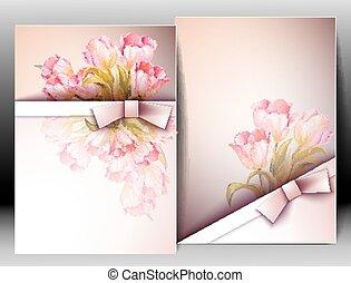 blomningen, fjäder, inbjudan, mall