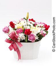 blomningen, in, blomster kruka