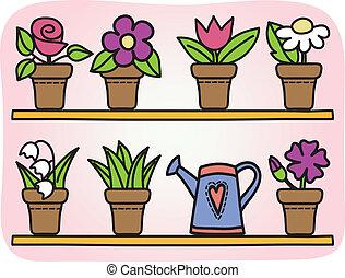blomningen, in, krukor, illustration